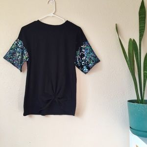 Wild Fable size XS black and knotted sequin tee